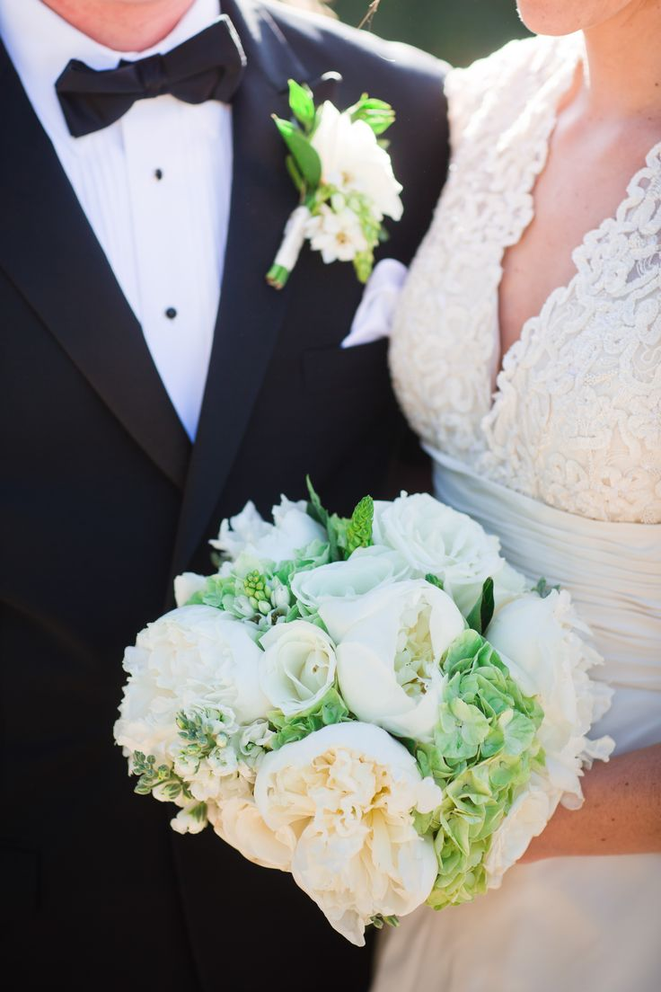 Green and white Bridal Bouquet & Grooms Boutonniere. Meadow Club & St. Rita's Church in Fairfax, CA. (Cliff Brunk Photography)