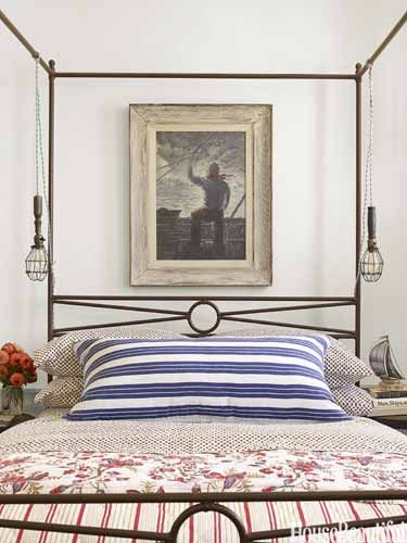 "We call this 'the sailor room,' because we went all out with the nautical theme,"" designer Ken Fulk says of a bedroom in his Massachusetts vacation house."