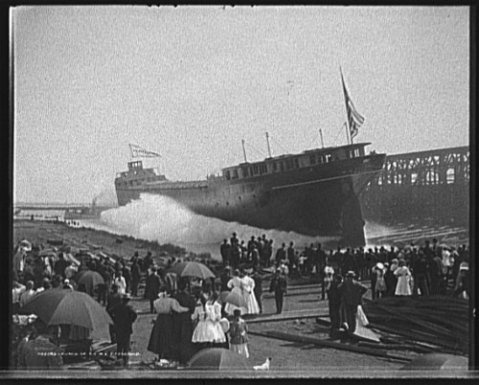 Launch of the W.E. Fitzgerald at Wyandotte, Michigan. Captain Dennis Sullivan, built and christened the W.E. Fitzgerald in Wyandotte in his close friends, William E. Fitzgerald's honor in 1906. In 1953, the WE Fitzgerald became known as the Little Fitz when the massive freighter named after William's son was launched. His name, of course, was Edmund Fitzgerald.