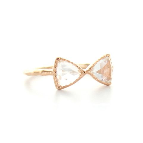 MINI FREEDOM BOW TIE RING - WHITE TOPAZ & ROSE GOLD | Buy So Pretty Jewelry Online & In Stores