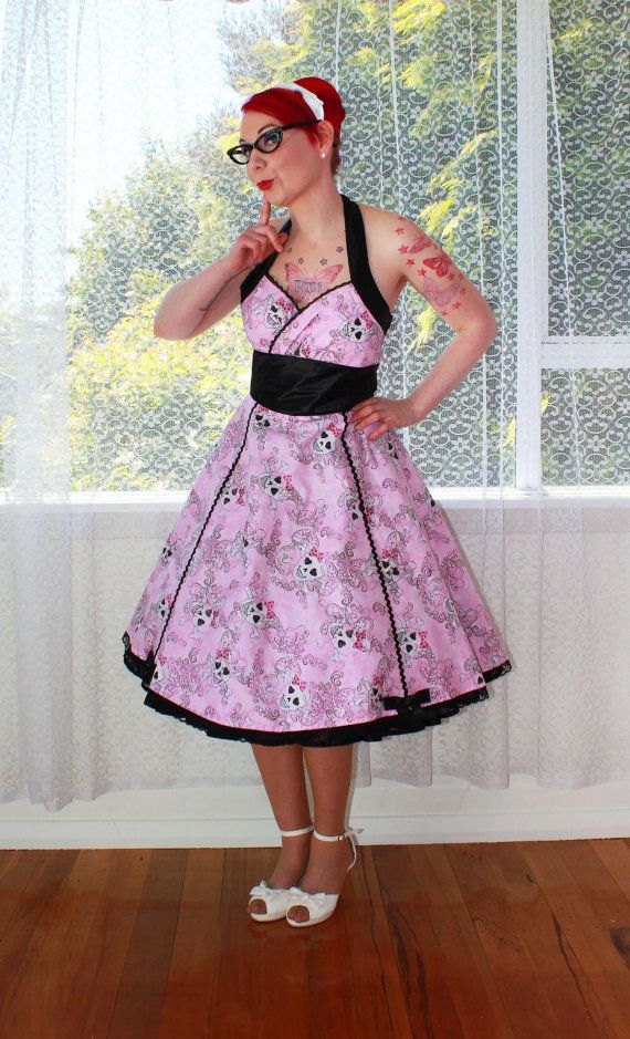 Rockabilly Pink Skull Dress 'Jessie'  with Black Satin and Lace Trim - Custom made to fit