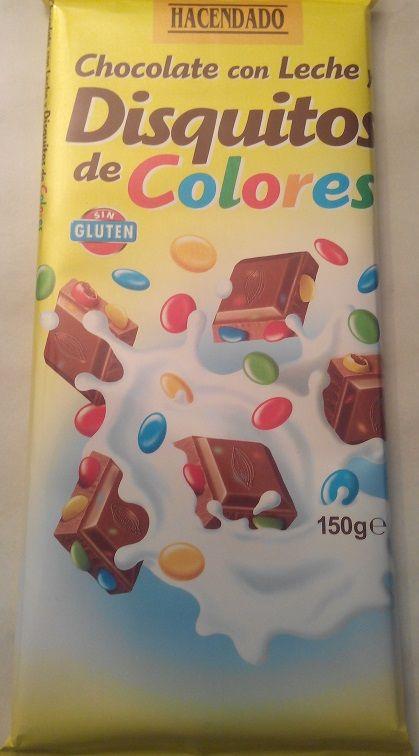 Chocolate con Leche y Disquitos de Colores Hacendado (Mercadona) - 4 onzas 2 puntos