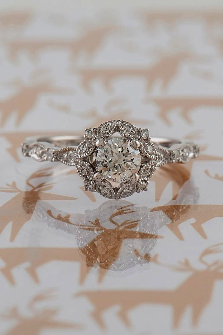 Vintage Engagement Rings Tiffany Round Cut Low Profile Engagement Rings #princes…