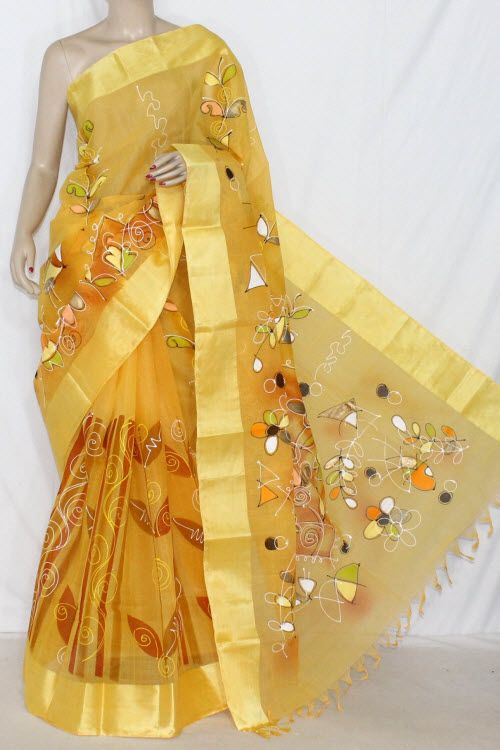 Yellow Hand-printed Bengali Tant Cotton Saree (Without Blouse) 13910