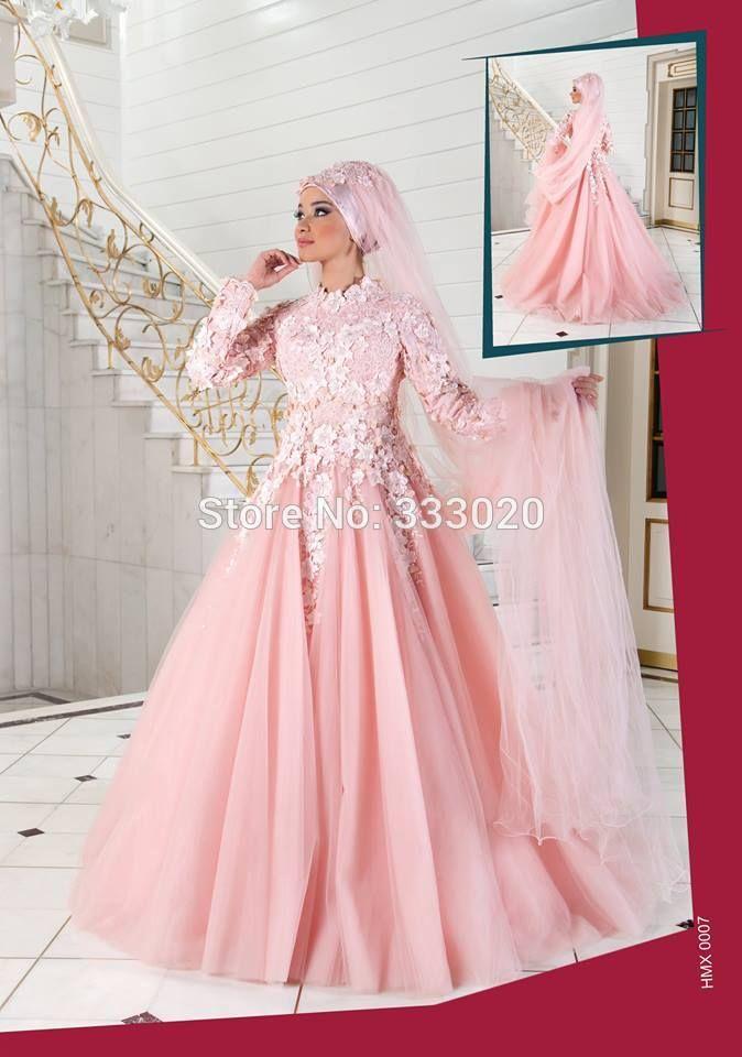 Venedig Spitze Appliques High Neck Long Sleeves Rosa Muslim Abendkleid Islamische Türkische Formales Kleid robe de soiree //Price: $US $199.00 & FREE Shipping //     #clknetwork