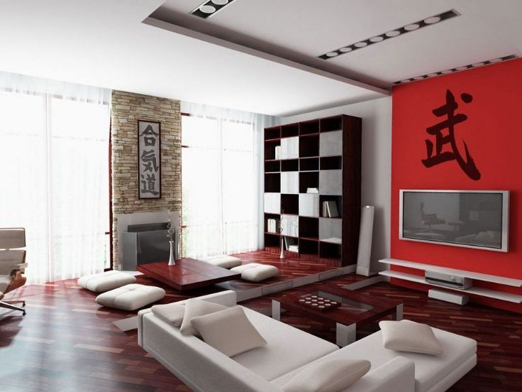 Decoration, Asian Style Living Room Interior Design Wooden Cabinet White  Wall Paint Color Wooden Table Japanese Style Asian Inspired Living Room Red  Pillow ...