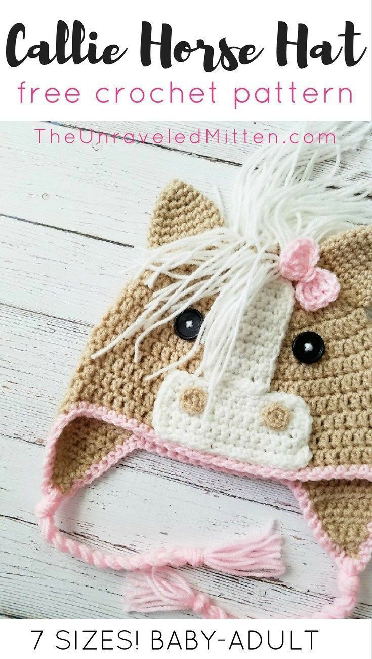 Updated to include more sizes!! |Callie Horse Hat | Free Crochet ...
