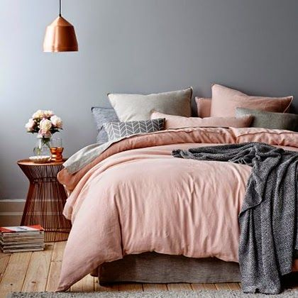 Interior Trend 2015 - Pastels - Gray, blush and copper - oh really? Because I have a blush duvet in the guest room and have been looking for a plush blush/grey bed set like this for 2 years #Trendsetter