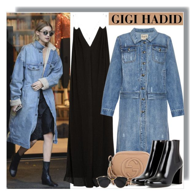 """Gigi Hadid at Sonia Rykel's Shoowroom in Paris"" by anne-mclayne on Polyvore featuring Rosetta Getty, Sea, New York, Gucci, Yves Saint Laurent, Christian Dior, GetTheLook, StreetStyle, CelebrityStyle, modeloffduty and gigihadid"