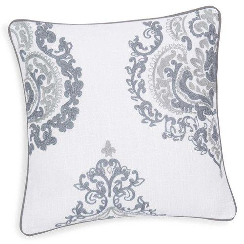 Housse de coussin en coton blanche/bleue 40 x 40 cm ISMERIE