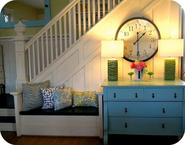 wall clock: Entry Benches, Modern Cottages, Follow Furniture, Stairs, Baking Doughnut, Dressers, Wall Clocks, Furniture Favorite, Art Wall