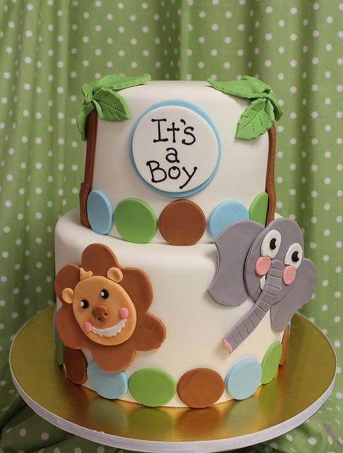 It's a Boy!  flat baby animal jungle by Amanda Oakleaf Cakes of Boston, via Flickr
