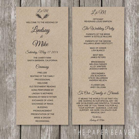 printable wedding program diy rustic kraft wedding welcome program