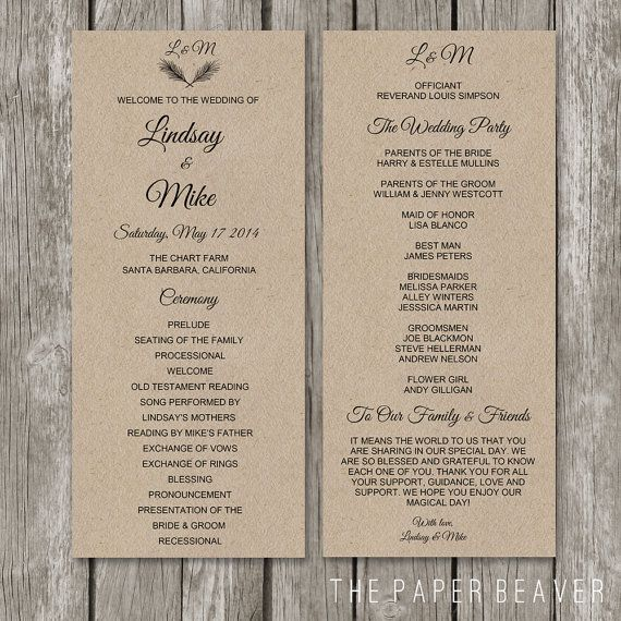 Printable Wedding Program - DIY Rustic Kraft Wedding Welcome Program - Double Sided Burlap Paper Program Template