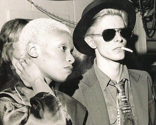 David Bowie and Ava Cherry at a Faces concert, 1975