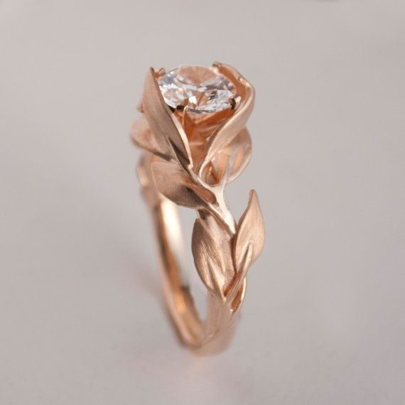 Leaves Engagement Ring No. 7 14K Rose Gold and by doronmerav