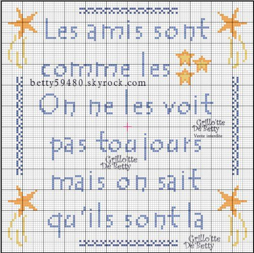 Amitiés - friendship - point de croix - cross stitch - Blog : http://broderiemimie44.canalblog.com/