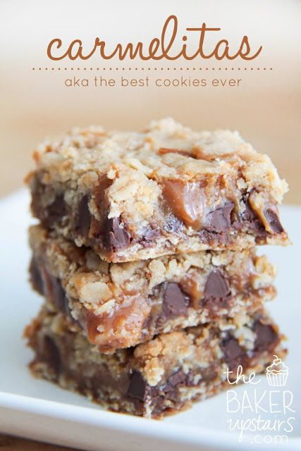 Carmelitas! The best cookie you will ever make. Each bite is an delicious balance of gooey caramel, chocolate chips, and crunchy and sweet cookie. http://www.thebakerupstairs.com