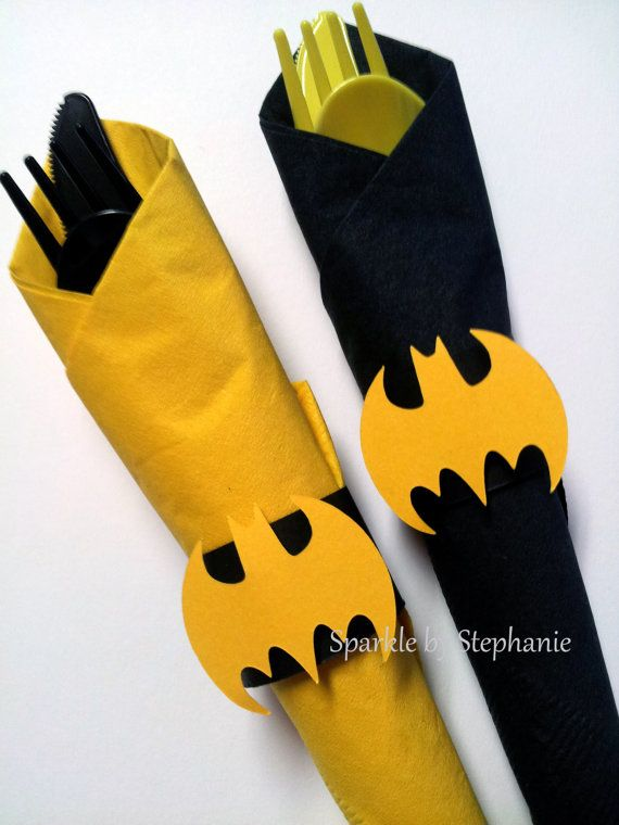Batman Napkin Rings Set of 12 by sparklebystephanie on Etsy
