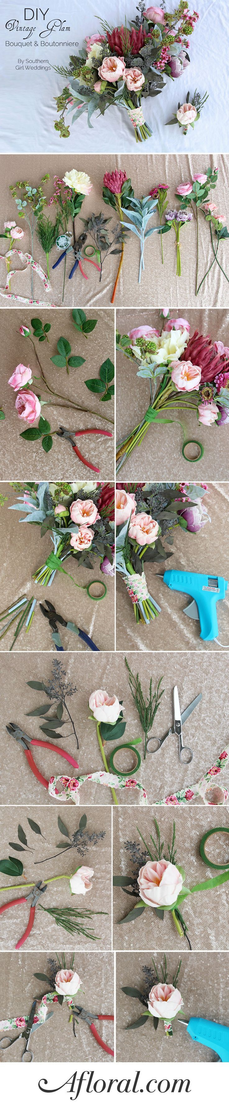Learn how to make your own wedding bouquets and matching boutonnieres with this simple DIY from Southern Girl Weddings with flowers from http://afloral.com. #diywedding