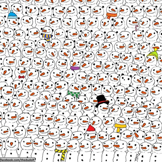 These are snowmen, but LOLJK one is a panda. He's about as easy to find as your motivation to do anything at all ever.