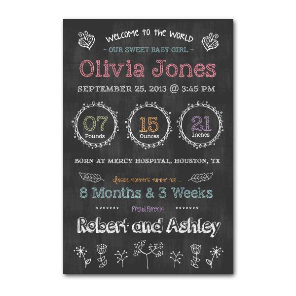Newborn Chalkboard Poster Template
