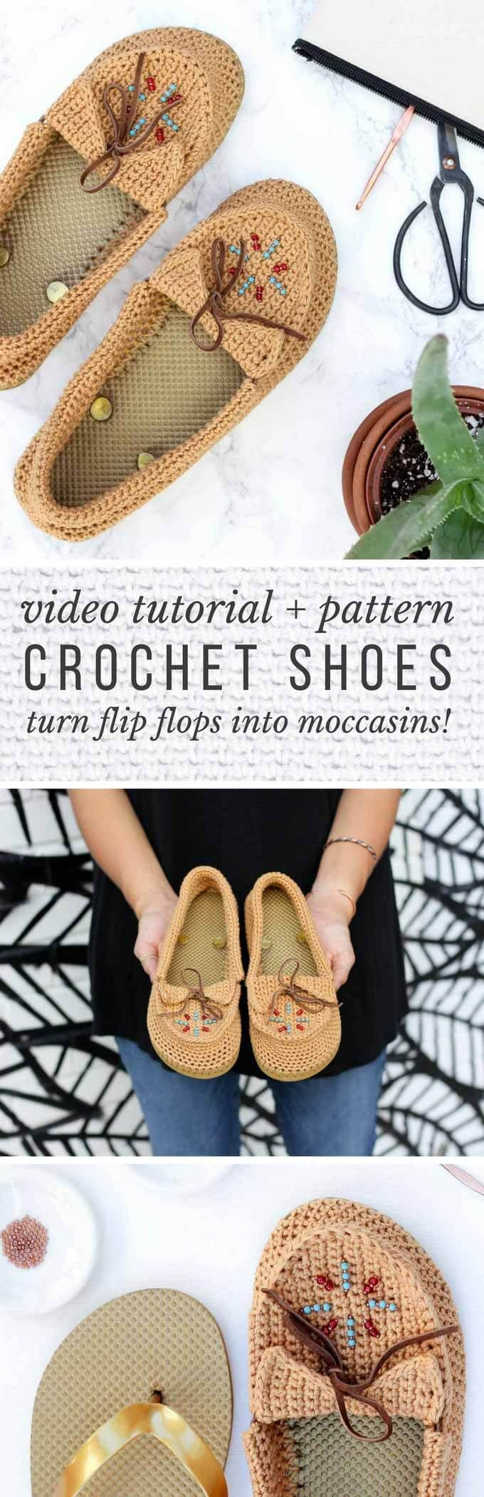 "Calling all boho fans! Learn how to crochet shoes with flip flop soles with this free crochet moccasin pattern and video tutorial! These modern crochet moccasins make super comfortable women's shoes or slippers and can be customized however you wish. Made from Lion Brand 24/7 Cotton in ""Camel"" color. via @makeanddocrew"