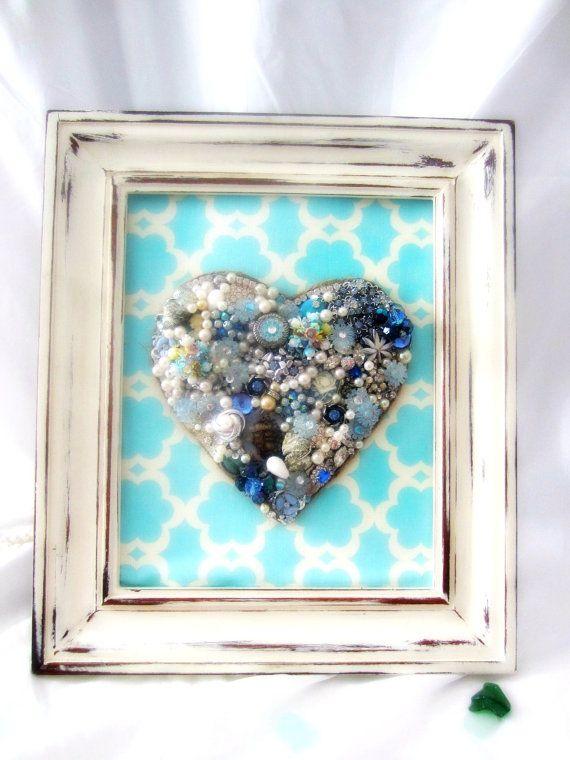Vintage Jewelry Wall Decor Blue Heart