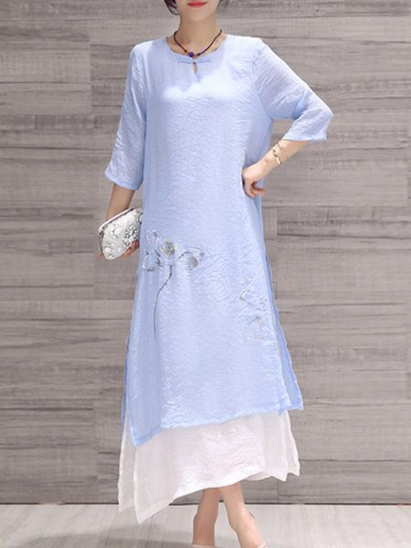 Shop Midi Dresses - Light Blue Floral Elegant Linen Midi Dress online. Discover unique designers fashion at StyleWe.com.