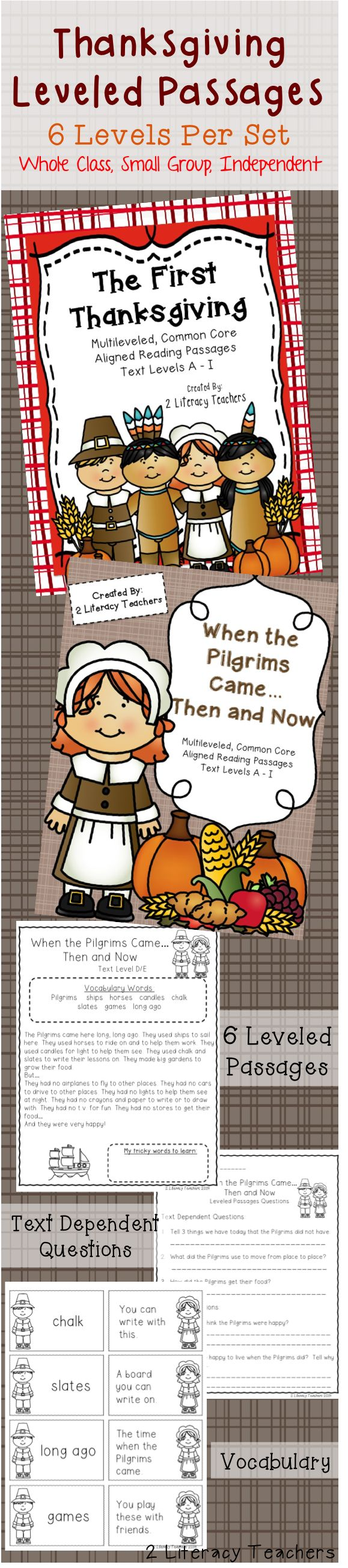 Thanksgiving Passages! Perfect for whole class, small group or independent practice! Close reading and vocabulary practice and assessment. K-2.