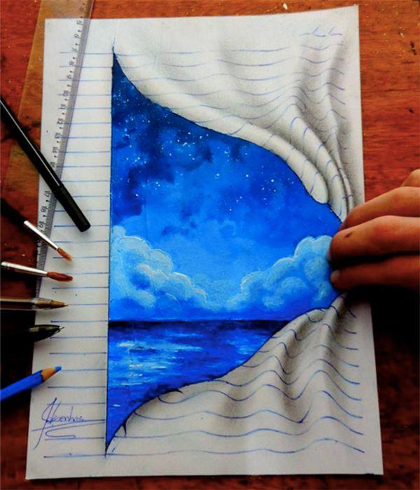 立体に見えるこちらの作品は、ブラジルに暮らす16歳の男の子、Joao Carvalhoさんが紙に描いたイラストなんです。 ブルーの罫線をぐにゃりと曲げ、シェーディングを施すことで、3Dのように見せています。 使っているのは、色鉛筆や絵の具など一般に売られている道具で、特別なものはありません。 ・ファンタジーあ