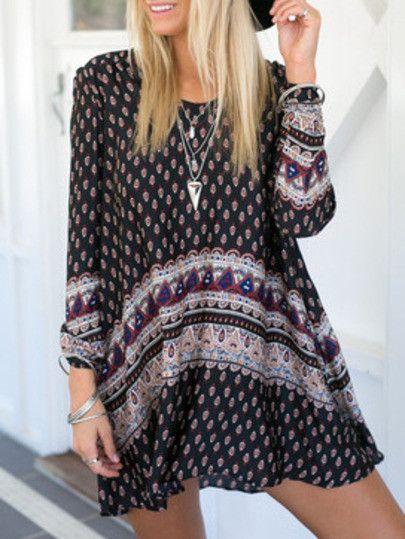 boho dresses, vintage print dresses, black dresses, trendy dresses - Lyfie