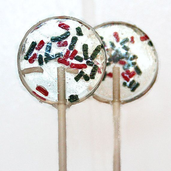 Christmas Party Winter Wedding Favor Lollipops Red, Green and White  6 Lollipop Pack Christmas Party Favors, Winter Wedding Party Favors
