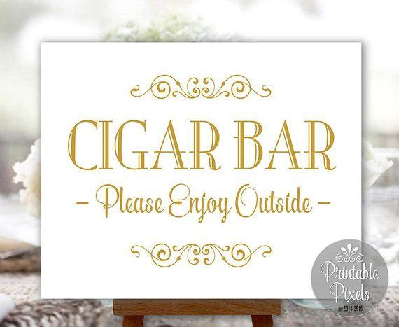 Cigar Bar Sign Gold Printable Wedding Sign by PrintablePixels