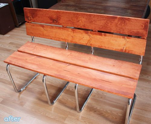 You won't believe this bench makeover at betterafter.net - I have the broken chairs, I'm totally making this.