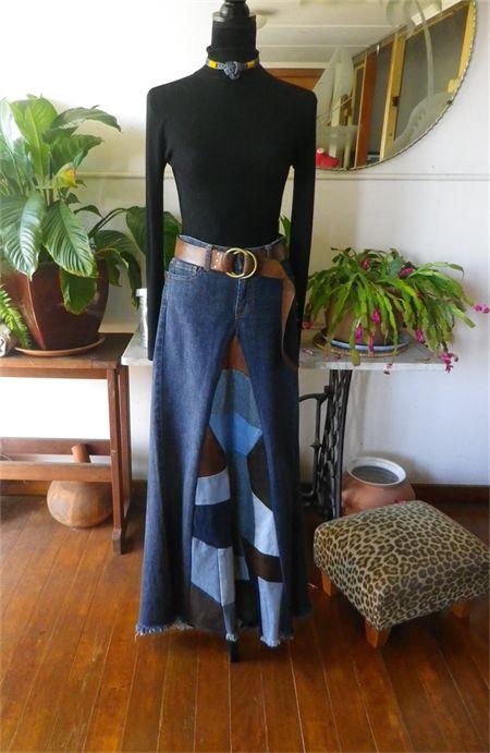 Patchwork inset denim maxi skirt