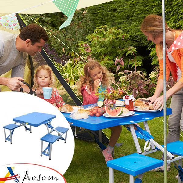 Tavolo Da Campeggio Con Sedie.Outsunny Tavolino Da Campeggio Pieghevole Portatile In Alluminio E