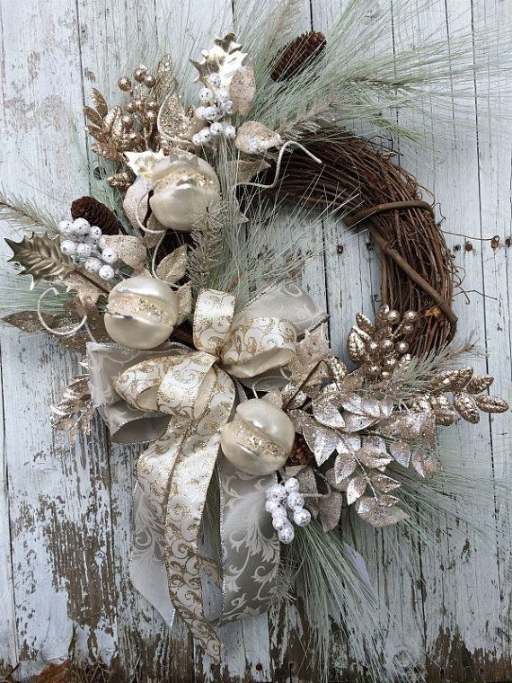 Victorian Christmas Wreath, Silver and Gold Christmas Wreath, Elegant Christmas Wreath for Door
