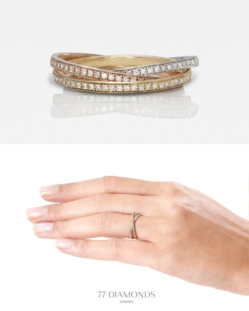 Inspired by the traditional Russian wedding band: three interlocked rings in yellow, white and rose gold which symbolise the Holy Trinity.