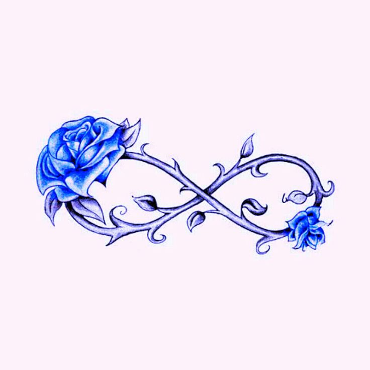 Blue rose infinity tattoo
