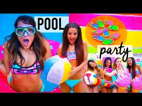 Summer POOL PARTY 2015! DIY decor, treats, ideas + things to do   Niki and Gabi - YouTube