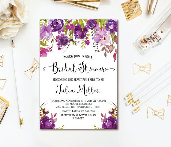 purple bridal shower invitation watercolor floral wedding shower printable invites