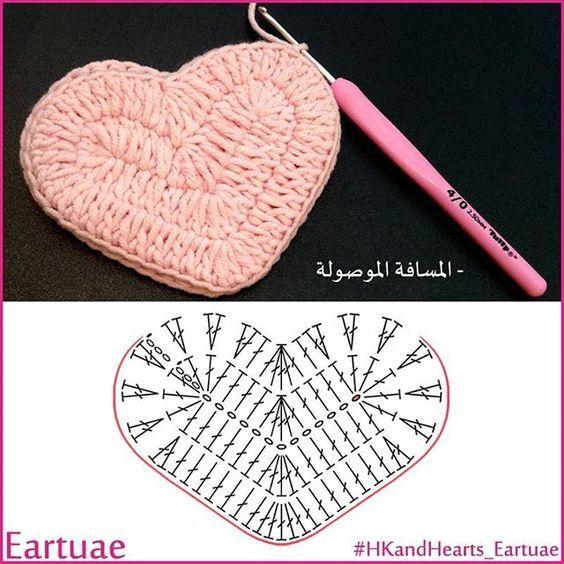 padrões de crochê-coração