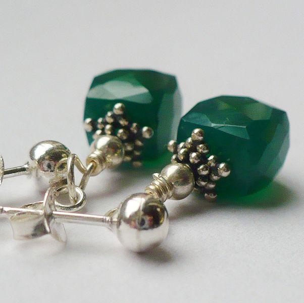 Silber Ohrringe - Grüner Onyx OHRRINGE 925 SILBER  - ein Designerstück von MaBelleJewels bei DaWanda