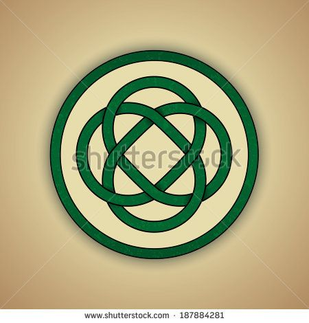 Celtic Lovers Knot Symbol of Eternal Love. Vector illustration of green celtic knot with slight grunge texture - stock vector