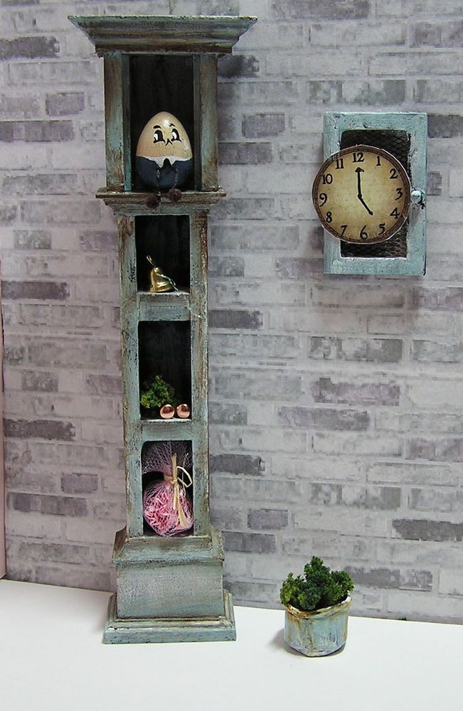 Miniature Dollhouse Furniture- Repurposed grandfather clock and humpty dumpty 1:12 scale