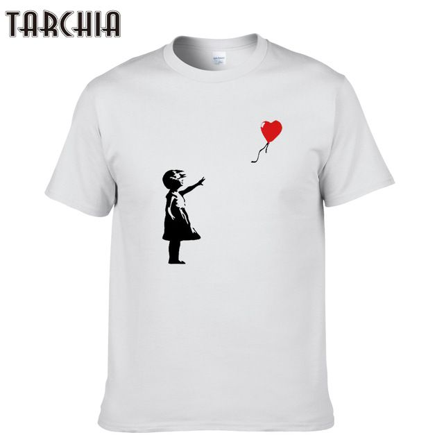 Check current price TARCHIA New Arrived t-shirt cotton tops tees kcco balloon girl banksy men short sleeve boy casual homme t shirt tee plus fashion just only $10.11 with free shipping worldwide  #tshirtsformen Plese click on picture to see our special price for you