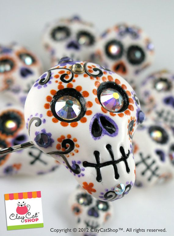 Day of the dead Rings, hair clips, calaveras, bridesmaids sugar skulls rings - made to order. $23.00, via Etsy.