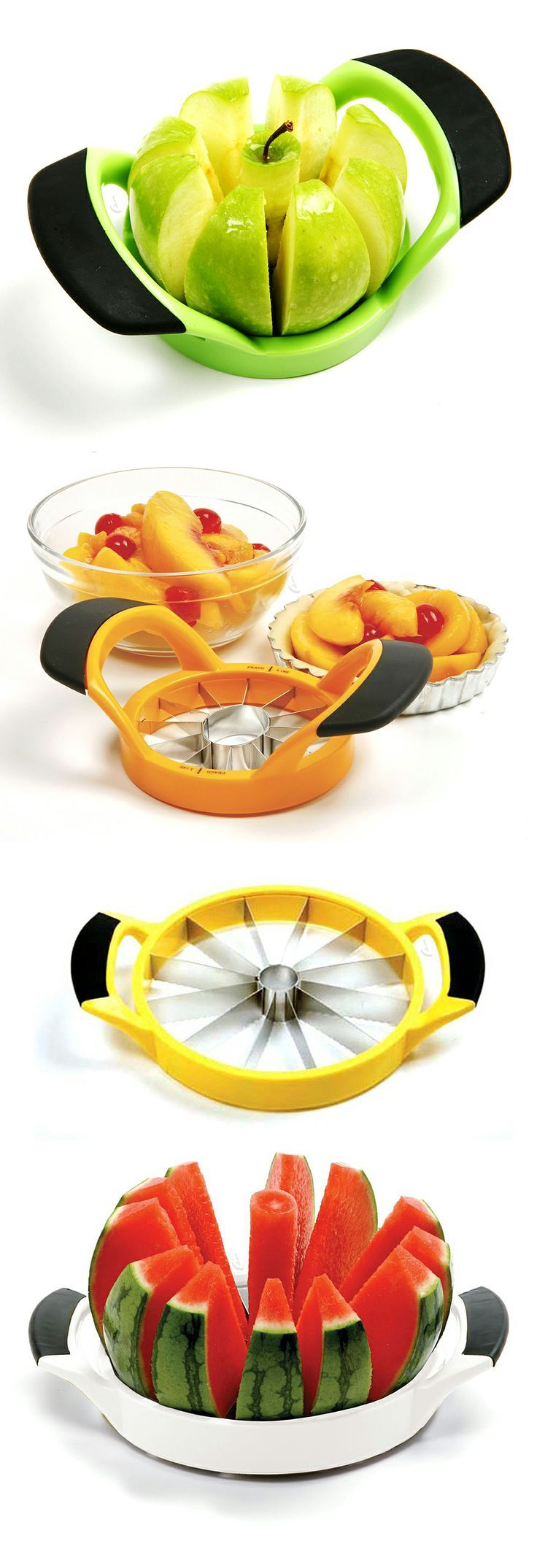 Quick fruit cutter corer // 3 sizes, for perfectly sliced peaches, to cored and sliced apples, all the way to cutting melons! #product_design