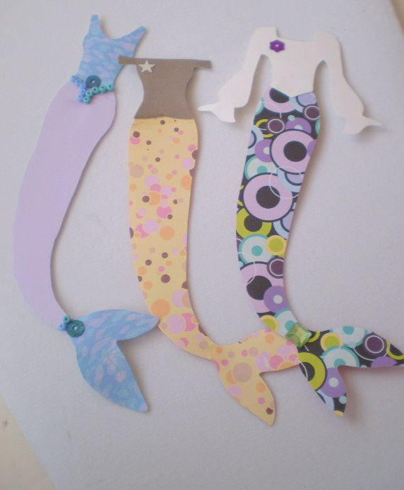 Trio of Mermaid Costume Paper Embellishment by JandKHideaway, $4.00: Paper Craft, Paper Creations, Paper Dolls, Mermaids, Trio, Mermaid Costumes, Paper Embellishment, Costume Paper
